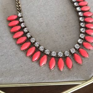 J Crew Coral and Clear Necklace